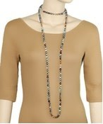 """Golden Stella 60"""" Long Knotted Glass 8mm Bead Necklace"""