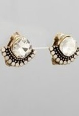 Golden Stella Diamond Shape & Sector Deco Earrings Burnt Gold/Clear