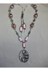 Sharon B's Originals Mucha Silver Cameo w/Red Cameos Necklace & Earring Set