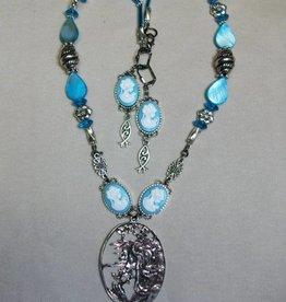 Sharon B's Originals Mucha Silver Cameo w/Blue Cameos Necklace & Earring Set