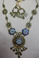 Sharon B's Originals Blue & White 3 Flowers Antique Gold Necklace & Earring Set