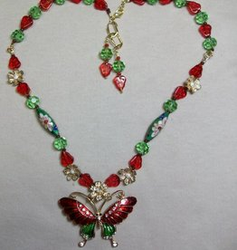 Sharon B's Originals Red & Green Enamel & Gold Necklace & Earring Set