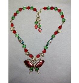 Sharon B's Originals Red & Green Enamel & Gold Necklace & Earring Set
