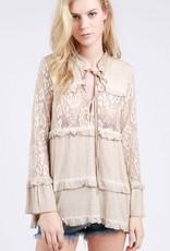 POL Clothing Lace Panel Long Sleeve Tunic Flared Sleeves Honey