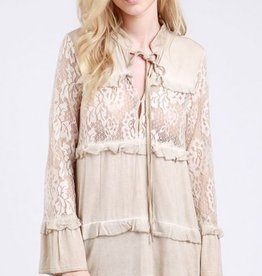 POL Clothing Lace Panel Long Sleeve Tunic Flared Sleeves Honey