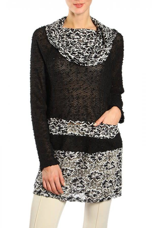 A'reve Long Sleeve Tunic with Off Shoulder/ Cowl Neckline Black