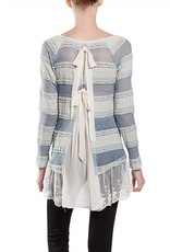 A'reve Long Sleeve Sheer Pucker Tunic w/ Lace Inset V Neck Blue Ivory