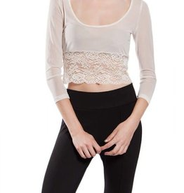 Sheer Crop Sleevy Lace Bottom