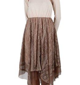RYU Long Sleeve Slip Dress Flowy Lace Bottom Cream/Br