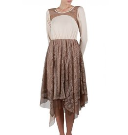 RYU Long Sleeve Slip Dress Flowy Lace Bottom Cream/Br