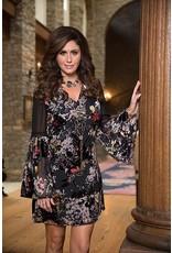 V Neck Bell Sleeve Burnout Velvet Short Dress/Tunic Multi Color