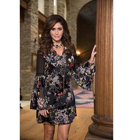 V Neck Bell Sleeve Burnout Velvet Short Dress/Tunic Multi Color