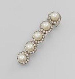 Golden Stella Pearl & Crystal Barrette Silver