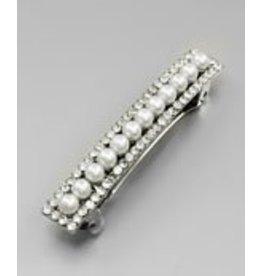 Golden Stella Pearl Link Barrette Crystal Trim Silver