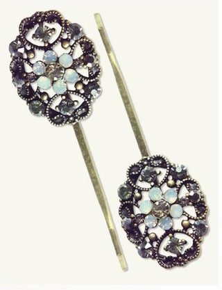 Victorian Trading Co Filigree Bobbies (Pair)  Ice Crystal