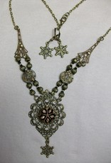 Sharon B's Originals Ant Gold w/Black & Gold Snowflake w/Drop Necklace & Earring Set