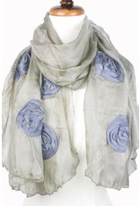 Paisley Road Silk Scarf with Floral Accents Olive