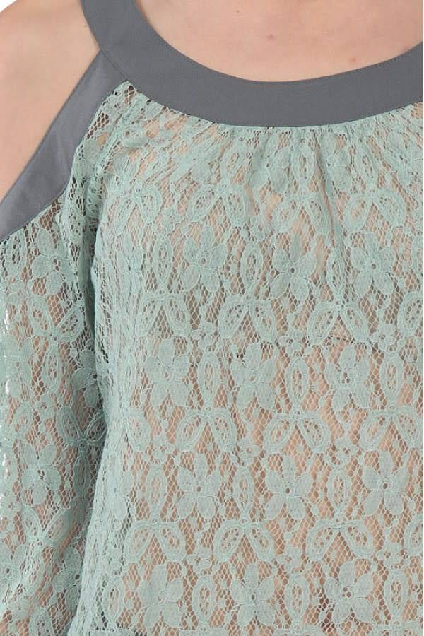 A'reve Lace Cold Shoulder Long Sleeve 2 Tone Top Mint