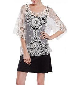 A'reve All Sheer Crochet Lace Top Ivory