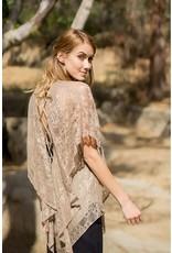 A'reve Lace Up Back Flutter Sleeve Lace Top Mocha