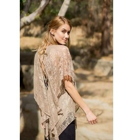 A'reve Lace Up Back Flutter Sleeve Lace Top Mocha