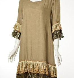 Lady Noiz Lace Fringe Tunic Sleeve & Bottom Ruffles Mocha