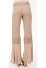 Monoreno Jersey Pants Crochet Detail Knees Dune