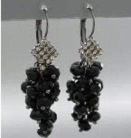 Golden Stella Grape Cluster Crystal Dangle Earrings Jet & Clear