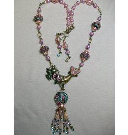 Sharon B's Originals Hand Focal w/ Lampwork & Pink Pearls Tassel Necklace & Earring Set