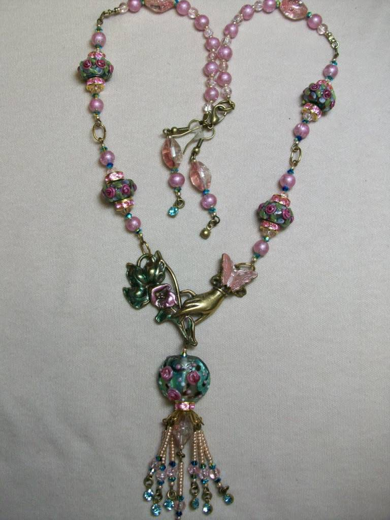 Sharon B's Originals Hand Focal w/ Lampwork & Pink Pearls Tassel Necklace & Earring Set