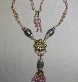 Sharon B's Originals Gold Flower w/Lampwork & Pink Pearls Tassel Beaded Necklace & Earring Set