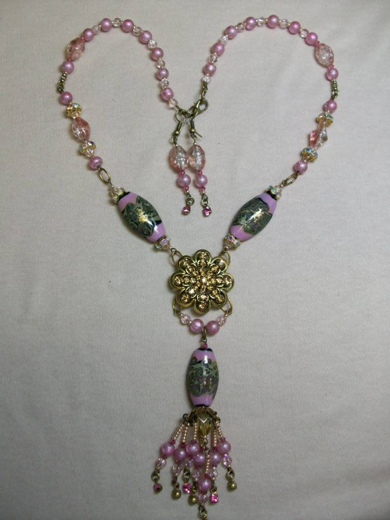 Sharon B's Originals Gold Flower w/Lampwork & Pink Pearls Tassel Beaded Necklace & Earring Set