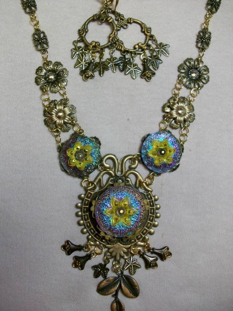 Sharon B's Originals Large Yellow & Fuchsia Flower Czech Buttons Necklace & Earring Set