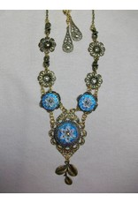 Sharon B's Originals 3 Blue & White Flower Czech Buttons Necklace & Earring Set