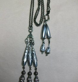 Sharon B's Originals Gunmetal Chain w/6 Grey Large Lace Pearls Tassel Necklace & Earring Set