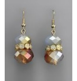 Golden Stella Crystal Cluster w/Teardrop Dangle Earring Blue Opal/Gold