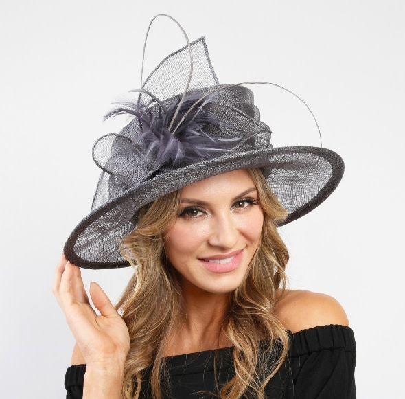 Something Special LA Med Brim Sinamay Hat - Grey
