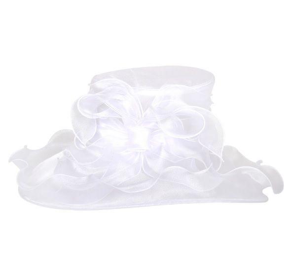 Something Special LA Ruffled Edge with Bow Crushable Hat Oval Shape White
