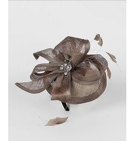 Golden Stella Sinamay Disk Fascinator with Rhinestone Center Taupe