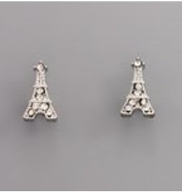 Golden Stella Crystal Stud Eiffel Tower Post Earrings Clear Rhodium