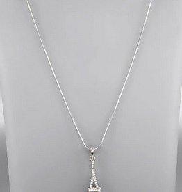 Golden Stella Eiffel Tower Snake Chain Necklace Rhodium