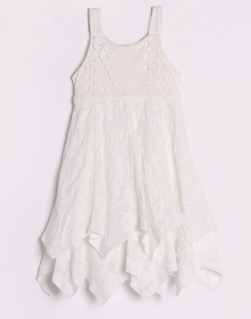Isobella & Chloe Handkerchief Hem Eyelet Lace Dress White