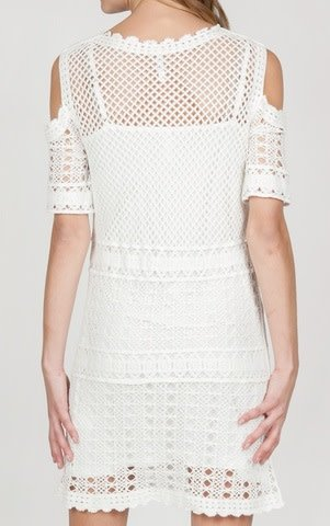Monoreno Cold Shoulder 1/2 Sleeve Crochet Scalloped Hem Dress w/ Detachable Cami Off White