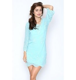 Monoreno Long Widen Sleeve Floral Lace Dress w/ Crochet Neckline Mint