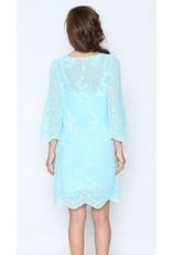 Monoreno Long Widen Sleeve Floral Lace Dress w/ Crochet Neckline Mint