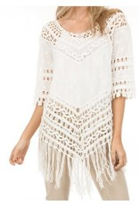 Monoreno 3/4 Sleeve Fringed Top w/ Crochet Lace Off White