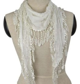 Pretty Angel Lace Trim Lightweight Scarf