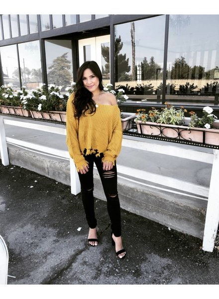 Trace Mustard Fringe Sweater
