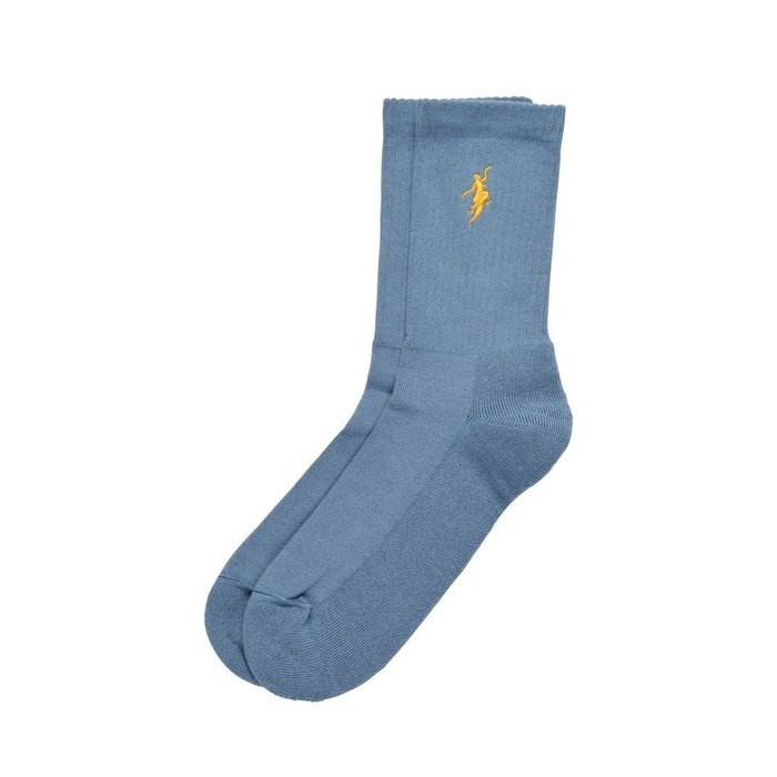 POLAR NO COMPLY SOCKS , SLATE BLUE/YELLOW, O/S