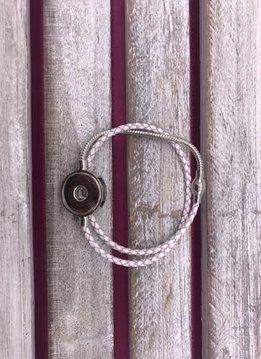 White Cord Wrap Snap Bracelet